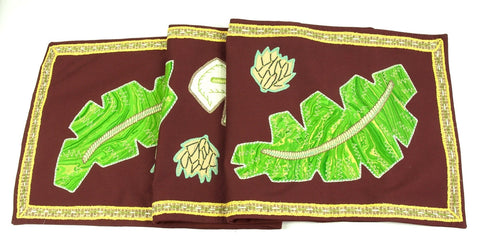 Hojas Design Embroidered Table Runner on brown