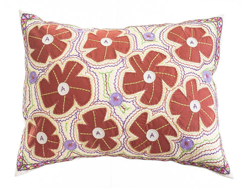 Flores Design Embroidered Pillow on cream