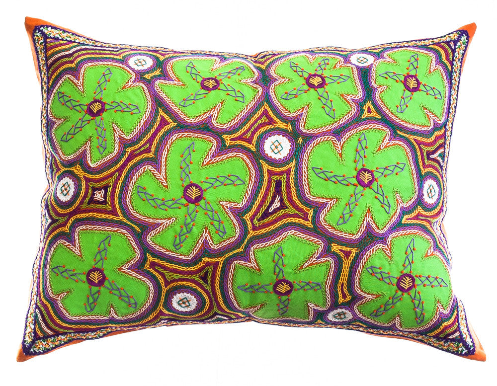 Flores Design Embroidered Pillow on persimmon