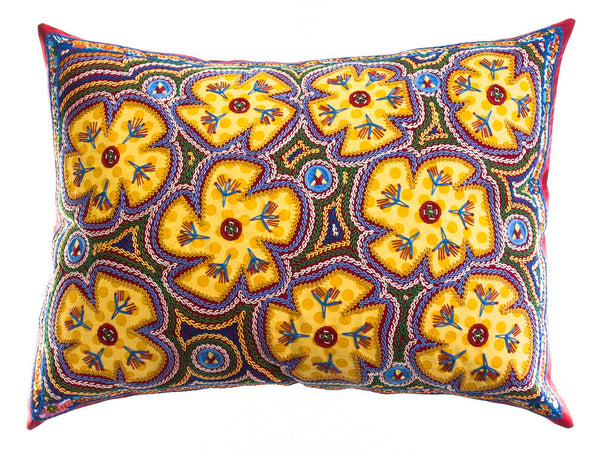 Flores Design Embroidered Pillow on red