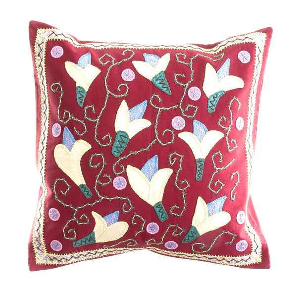 Lirios Design Embroidered Pillow on Red