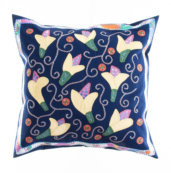 Lirios Design Embroidered Pillow on Navy