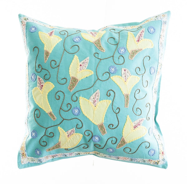 Lirios Design Embroidered Pillow on Aqua