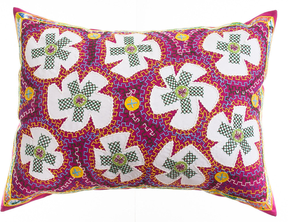 Flores Design Embroidered Pillow on deep pink