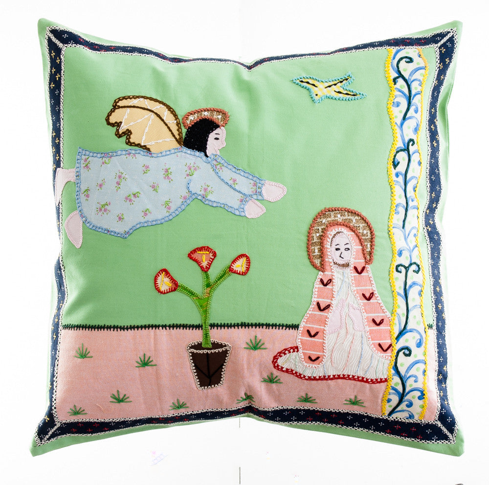 Anunciación Design Embroidered Pillow on light green