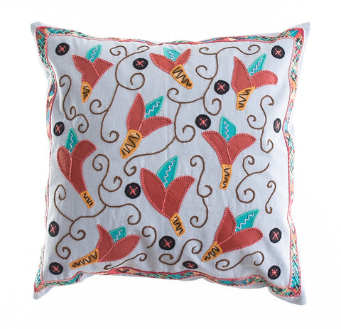 Lirios Design Embroidered Pillow on Gray
