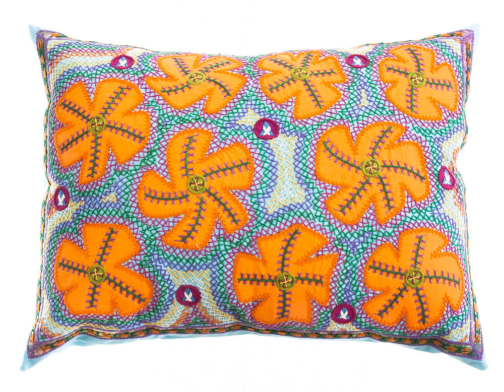 Flores Design Embroidered Pillow on light blue