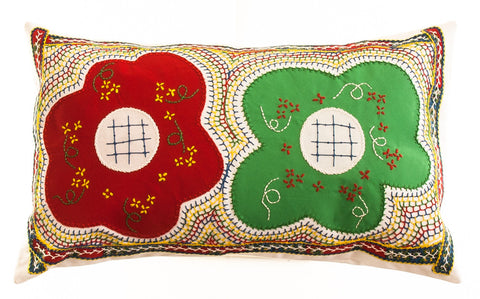 Dos Flores Design Embroidered Pillow on white