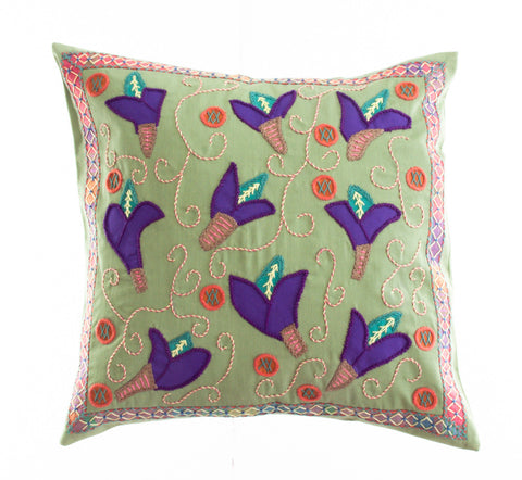 Lirios Design Embroidered Pillow on Avocado
