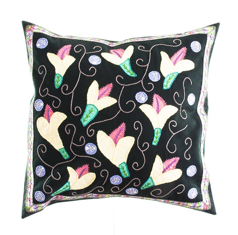 Lirios Design Embroidered Pillow on Dark Green