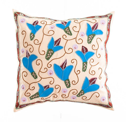 Lirios Design Embroidered Pillow on Pale Salmon
