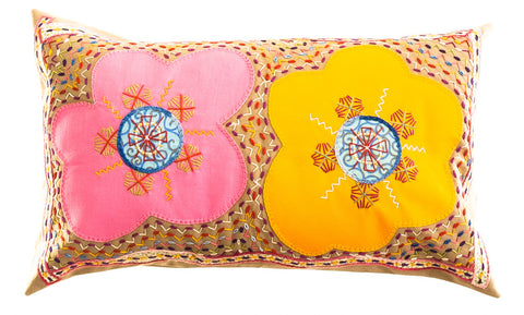 Dos Flores Design Embroidered Pillow on tan