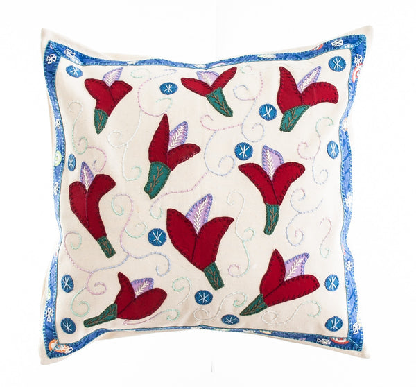 Lirios Design Embroidered Pillow on Cream