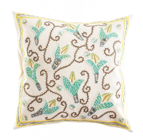 Lirios Design Embroidered Pillow on Ecru