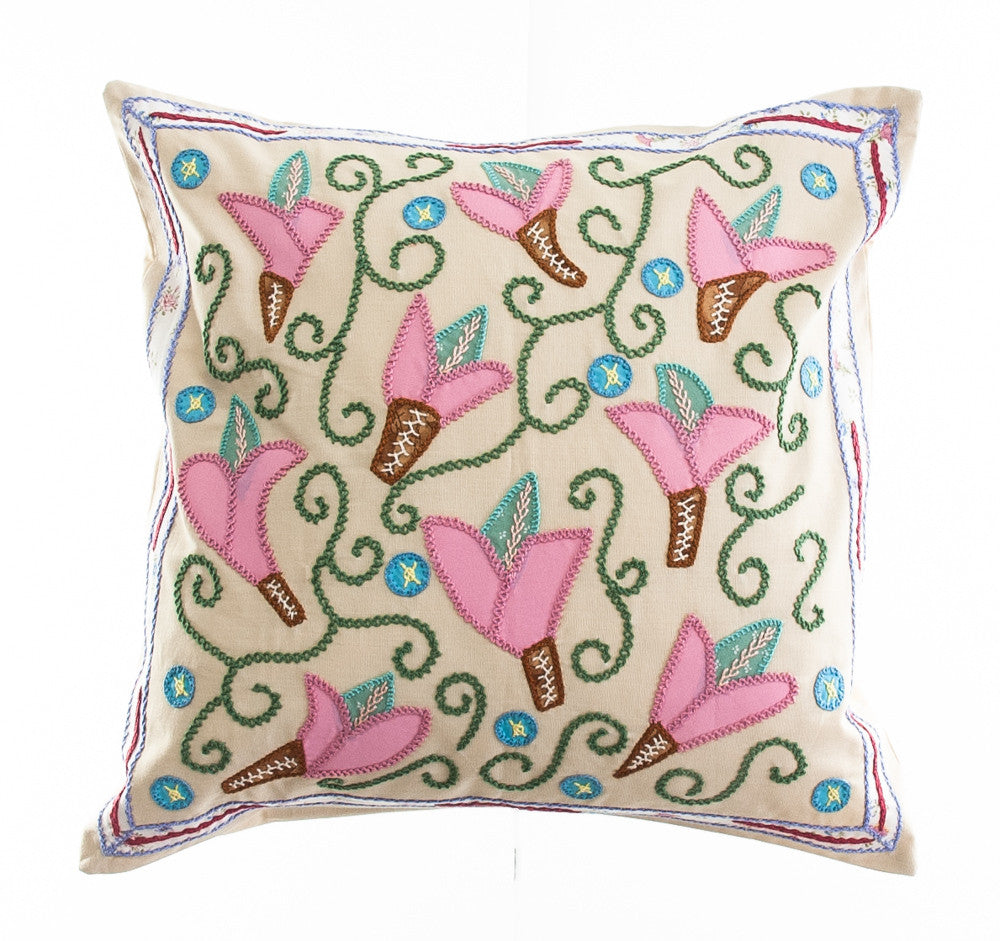 Lirios Design Embroidered Pillow on Beige