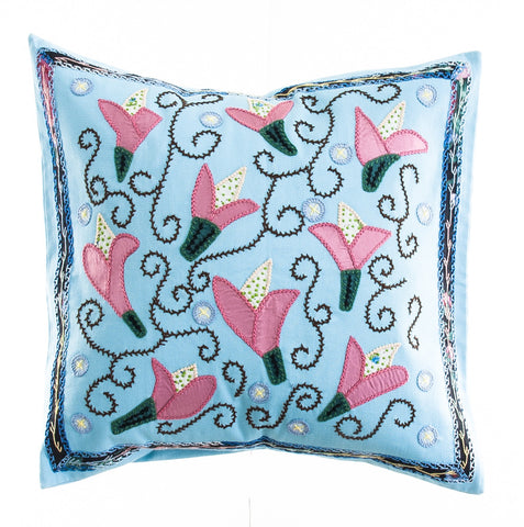 Lirios Design Embroidered Pillow on light blue