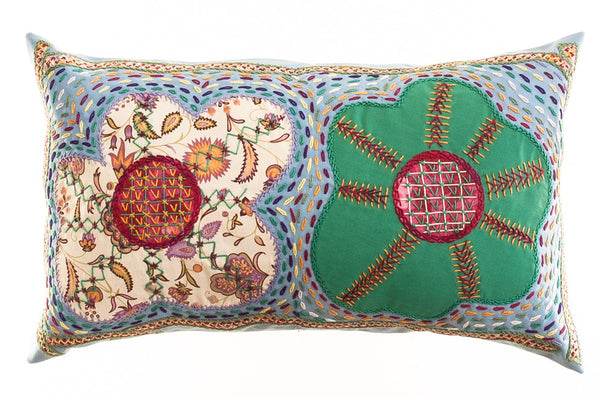 Dos Flores Design Embroidered Pillow on blue