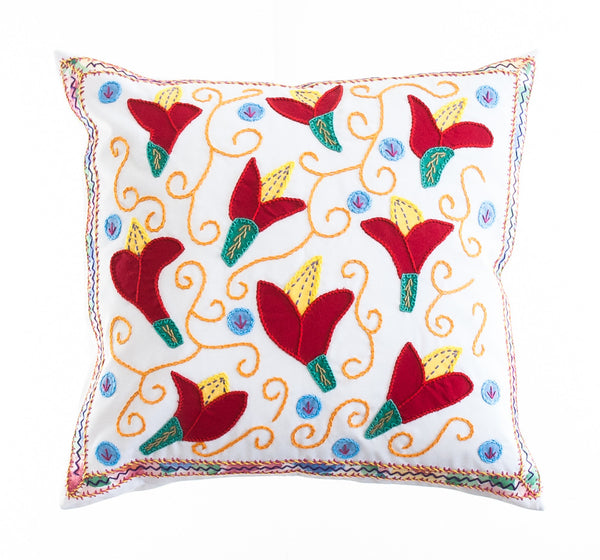 Lirios Design Embroidered Pillow on white