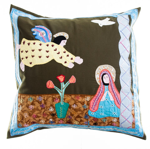 Anunciación Design Embroidered Pillow on dark olive