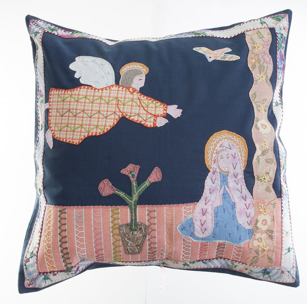 Anunciación Design Embroidered Pillow on dark slate blue