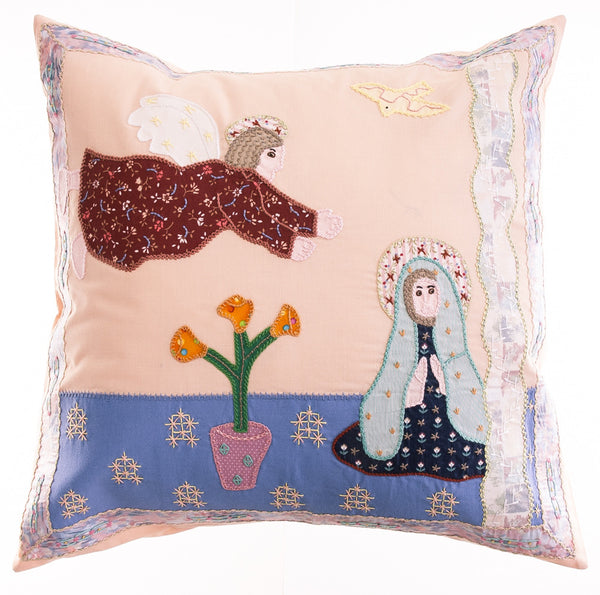 Anunciación Design Embroidered Pillow on light salmon