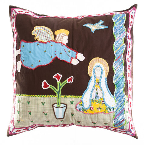 Anunciación Design Embroidered Pillow on dark brown