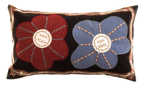 Dos Flores Design Embroidered Pillow on black