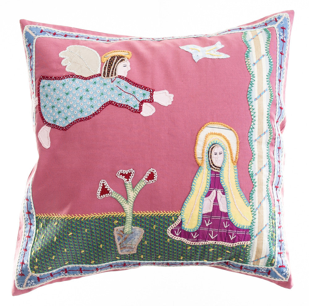 Anunciación Design Embroidered Pillow on rose