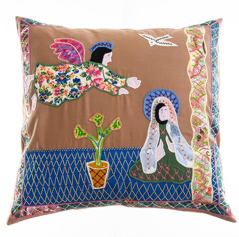 Anunciación Design Embroidered Pillow on cocoa