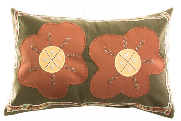Dos Flores Design Embroidered Pillow on olive