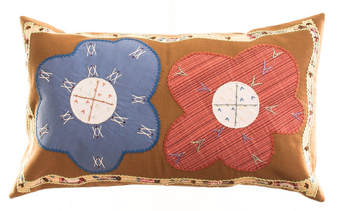 Dos Flores Design Embroidered Pillow on ocher