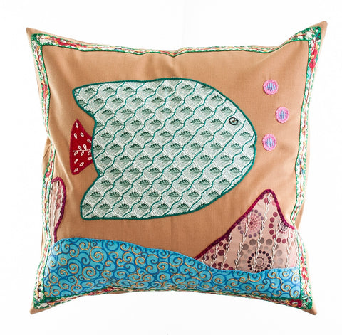 Pescado Design Embroidered Pillow on Caramel