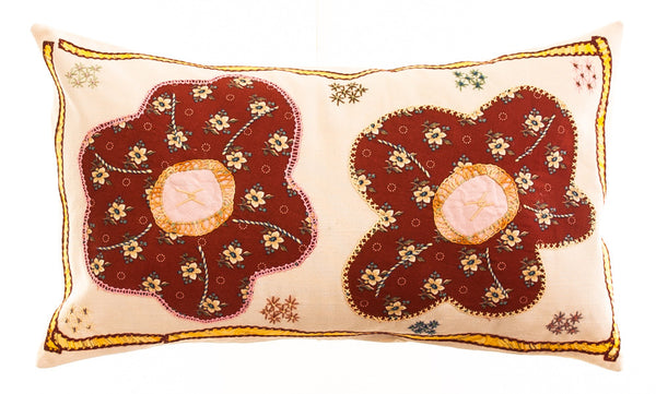 Dos Flores Design Embroidered Pillow on cream