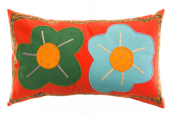 Dos Flores Design Embroidered Pillow on orange