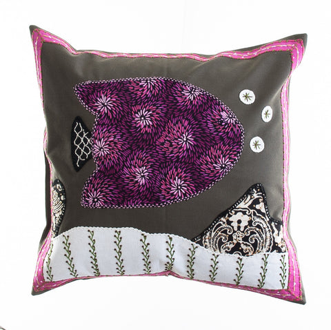 Pescado Design Embroidered Pillow on Dark Olive