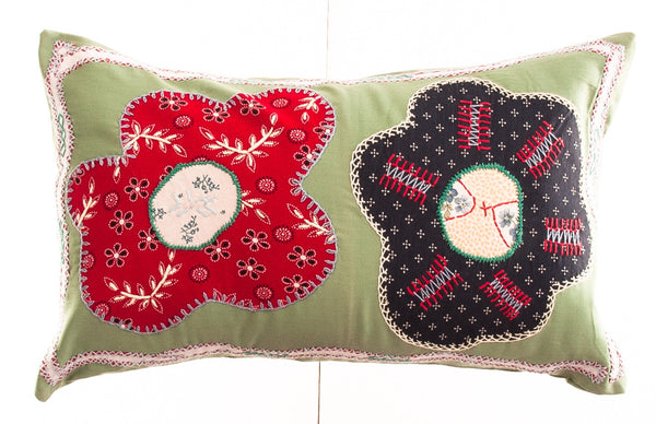 Dos Flores Design Embroidered Pillow on light green