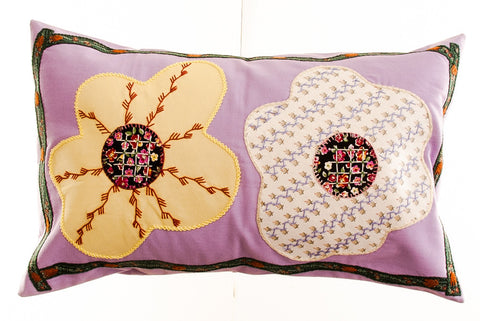 Dos Flores Design Embroidered Pillow on lavendar