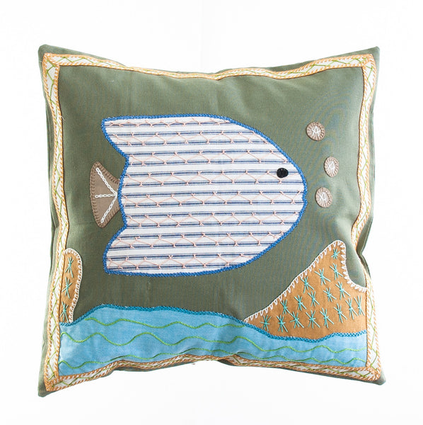 Pescado Design Embroidered Pillow on Sage