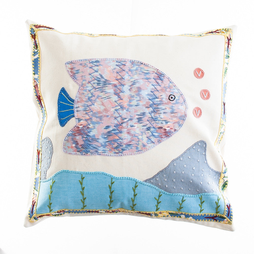 Pescado Design Embroidered Pillow on Cream