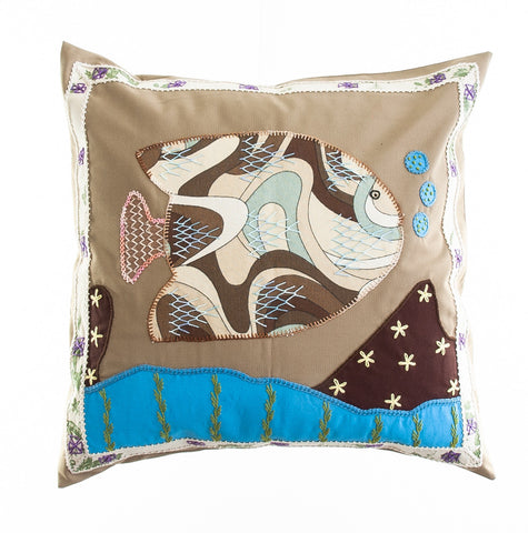 Pescado Design Embroidered Pillow on Khaki