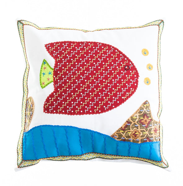 Pescado Design Embroidered Pillow on White