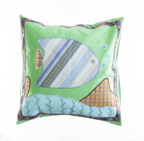 Pescado Design Embroidered Pillow on Apple Green