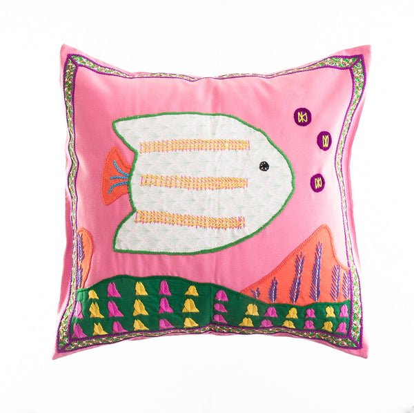 Pescado Design Embroidered Pillow on Pink