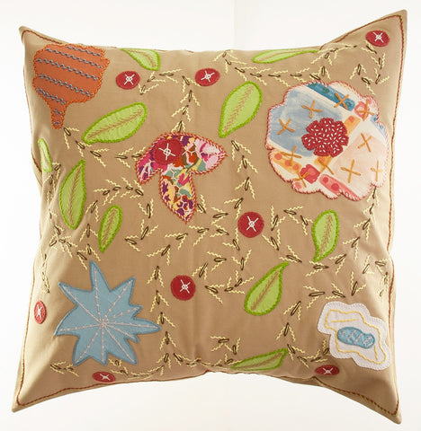 Rosas Design Embroidered Pillow on Khaki