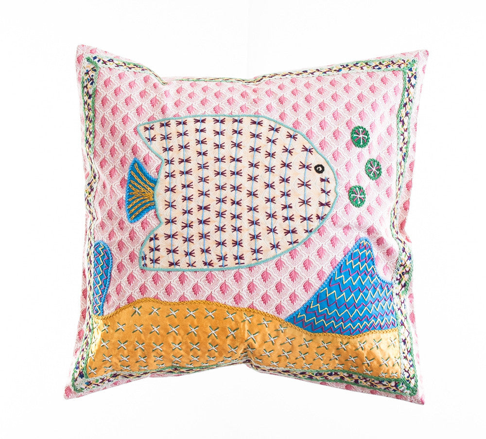 Pescado Design Embroidered Pillow on Pink Print