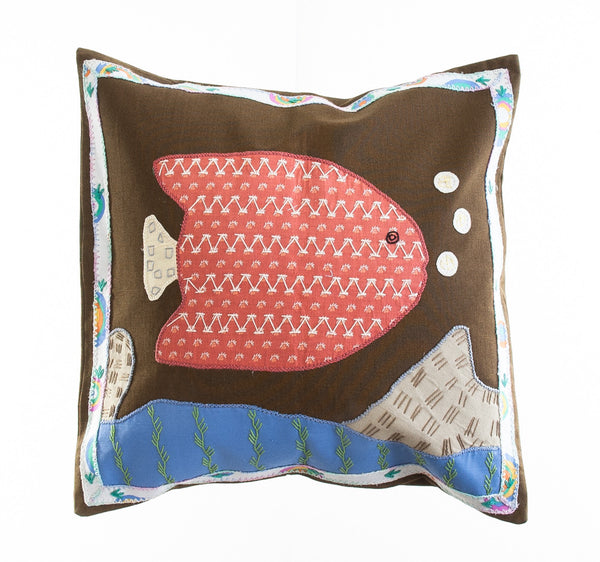 Pescado Design Embroidered Pillow on Brown