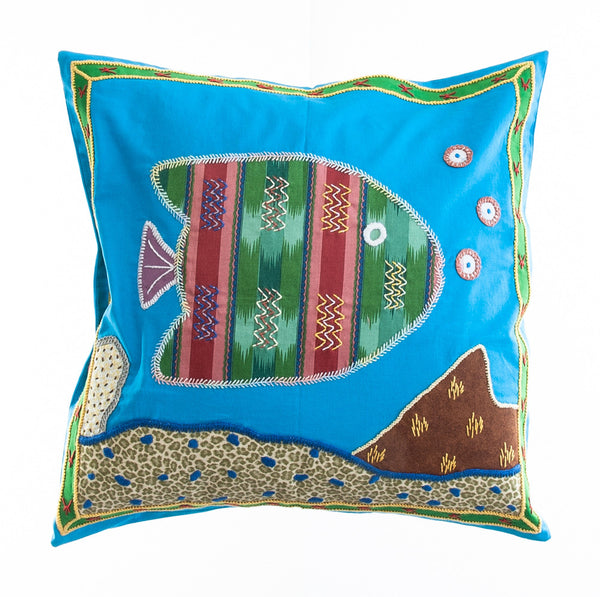Pescado Design Embroidered Pillow on Turquoise