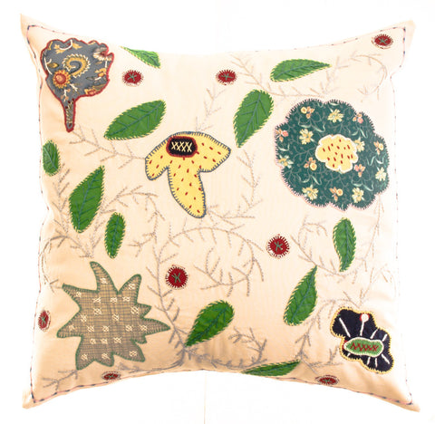 Rosas Design Embroidered Pillow on Ecru