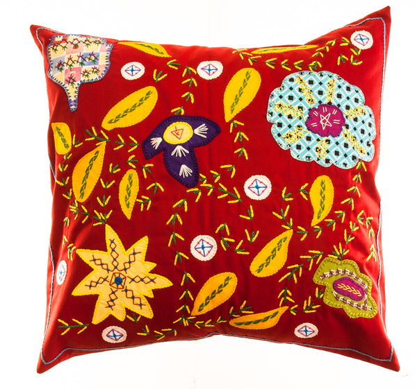 Rosas Design Embroidered Pillow on Red