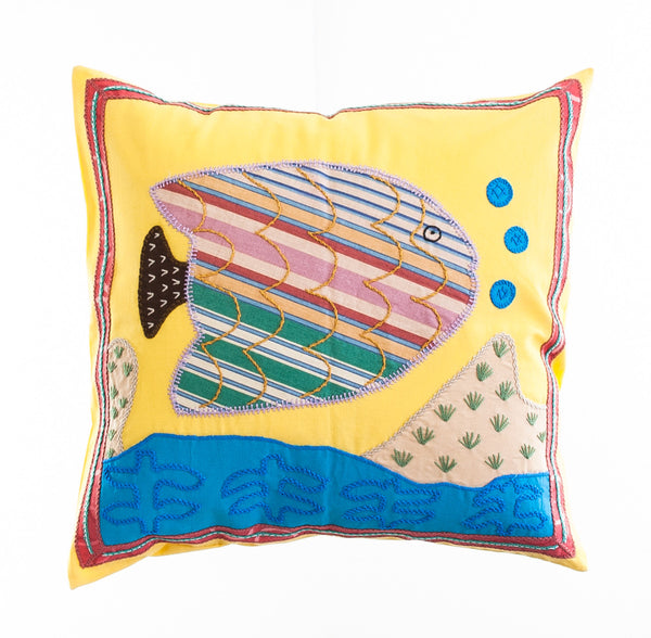 Pescado Design Embroidered Pillow on Yellow
